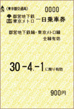 Common One-day Ticket for Toei Subway and Tokyo Metro
