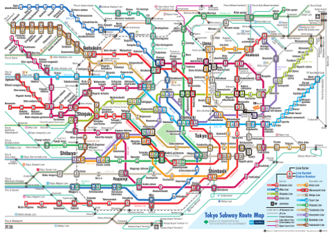Tokyo Subway Map In English In The Station.Toei Transportation