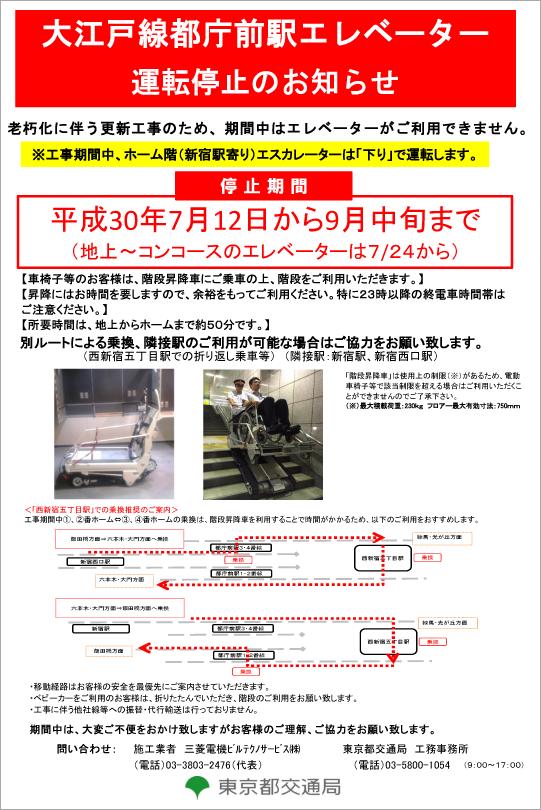 大江戸線都庁前駅エレベーター運...